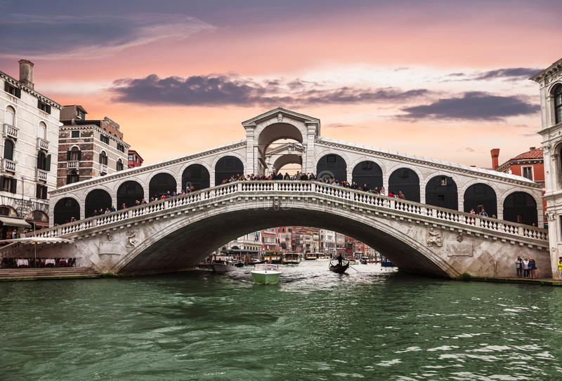 Views of the Grand canal and Rialto bridge at sunset. Venice royalty free stock images
