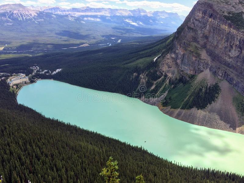 Views hiking around Lake Louise, Lakeview trail, Plain of six glaciers, Lake Agnes, Mirror Lake, Little and Big Beehive, Banff Nat. Ional Park, Canada, Alberta royalty free stock photo