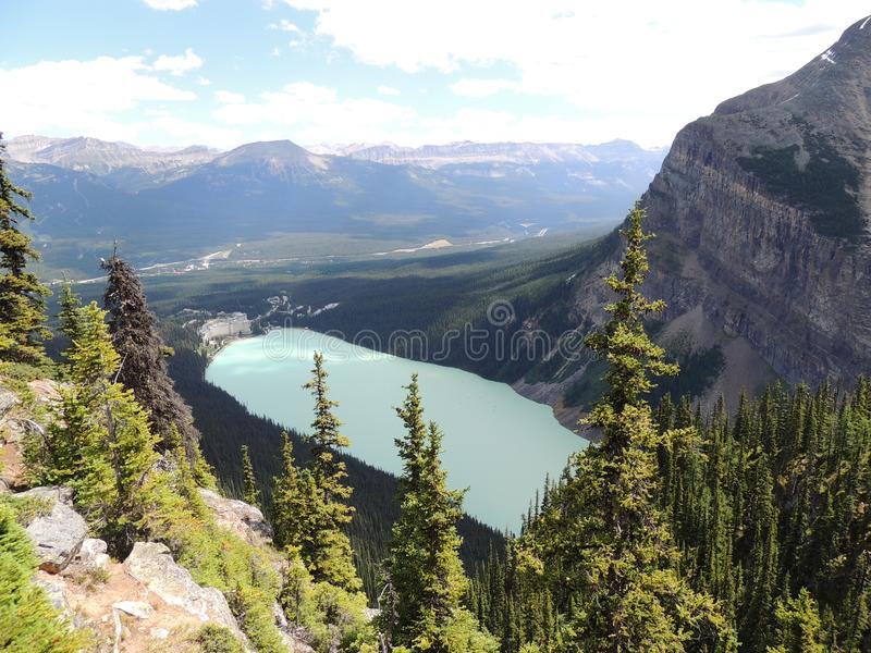 Views hiking around Lake Louise, Lakeview trail, Plain of six glaciers, Lake Agnes, Mirror Lake, Little and Big Beehive, Banff Nat. Ional Park, Canada, Alberta royalty free stock photos