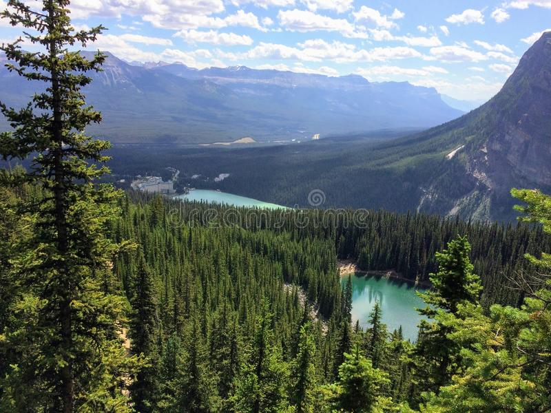 Views hiking around Lake Louise, Lakeview trail, Plain of six glaciers, Lake Agnes, Mirror Lake, Little and Big Beehive, Banff Nat. Ional Park, Canada, Alberta stock photos