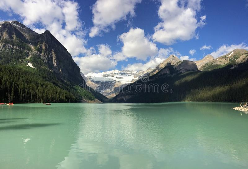 Views hiking around Lake Louise, Lakeview trail, Plain of six glaciers, Lake Agnes, Mirror Lake, Little and Big Beehive, Banff Nat. Ional Park, Canada, Alberta stock image