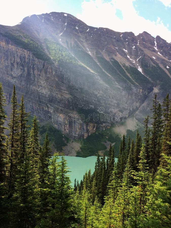 Views hiking around Lake Louise, Lakeview trail, Plain of six glaciers, Lake Agnes, Mirror Lake, Little and Big Beehive, Banff Nat. Ional Park, Canada, Alberta stock photo