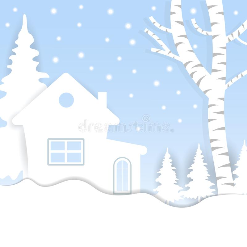Views of the house in winter. City Village with snow. Paper art and crafts style. Greeting card. Vector illustration vector illustration