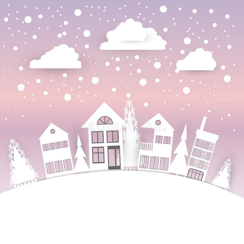 Views of the house in winter. City Village with snow. Paper art and crafts style. Greeting card. Vector illustration royalty free illustration