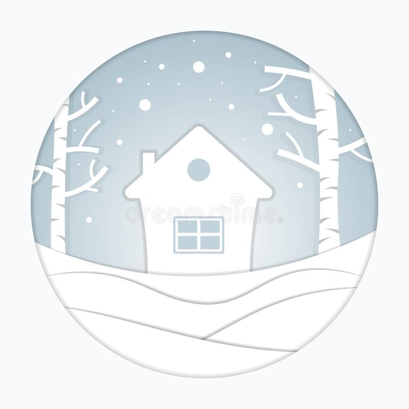 Views of the house in winter. City Village with snow. Paper art and crafts style. Greeting card. Vector illustration stock illustration