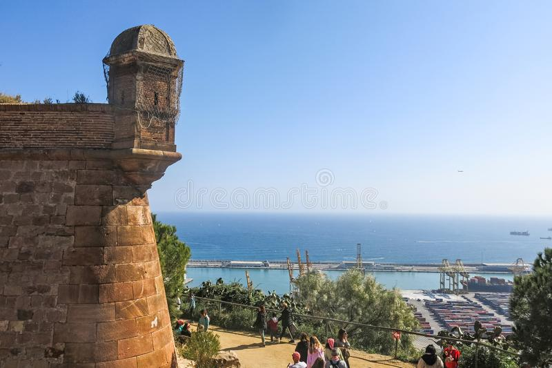Views of the industrial port of Barcelona, from the Montjuic Castle on the Montjuic mountain stock images