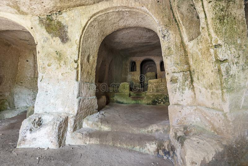 Views of The Murgia national park. Views of the inside of a rupestrian church in the Murgia National Park stock photo