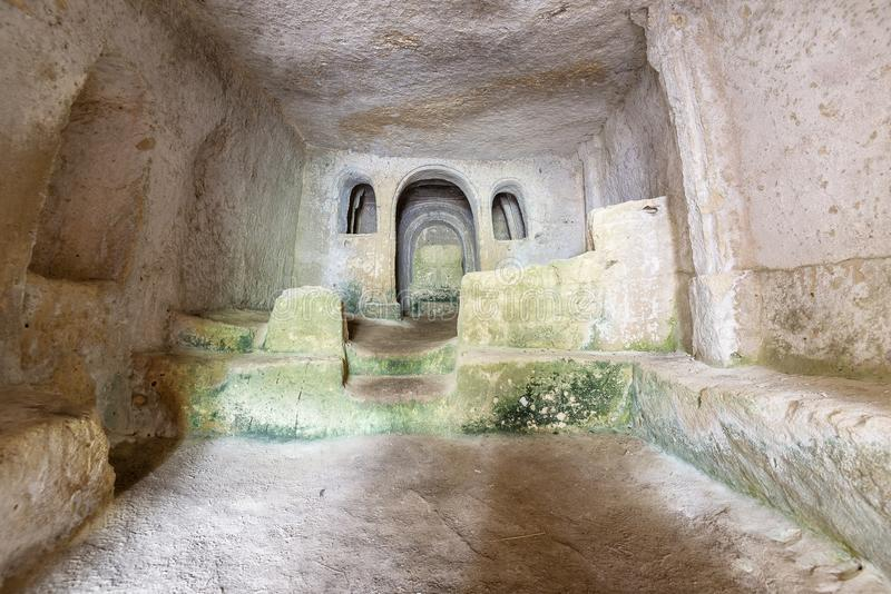 Views of The Murgia national park. Views of the inside of a rupestrian church in the Murgia National Park stock images