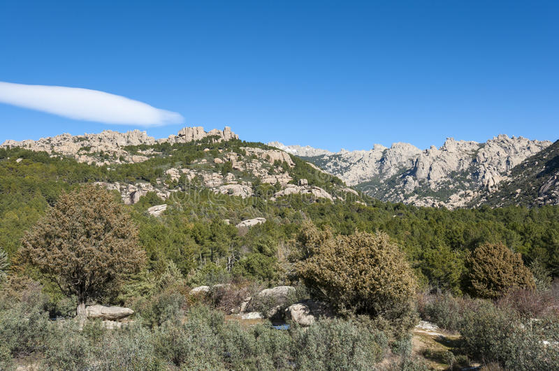 Views of La Pedriza, Madrid, Spain. Views of La Pedriza from Canto Cochino, in Guadarrama Mountains National Park, Madrid, Spain. In the background can be seen stock photo