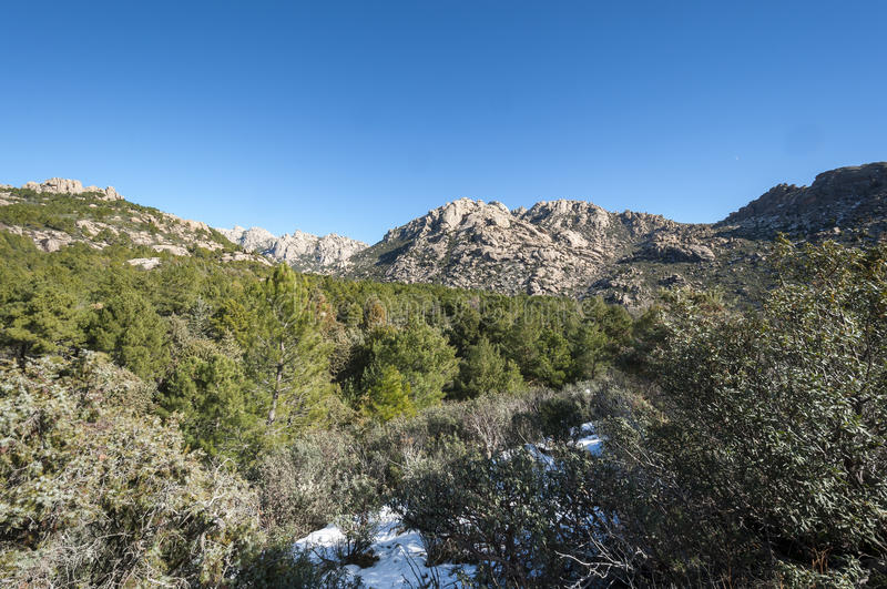 Views of La Pedriza, Madrid, Spain. Views of La Pedriza from Canto Cochino, in Guadarrama Mountains National Park, Madrid, Spain. In the background can be seen royalty free stock image