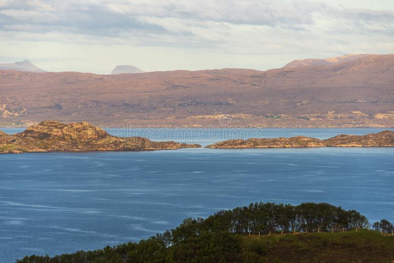 Isle of Skye landscape. Views of a lake with a mountain in the background inside Isle of Skyen royalty free stock photos