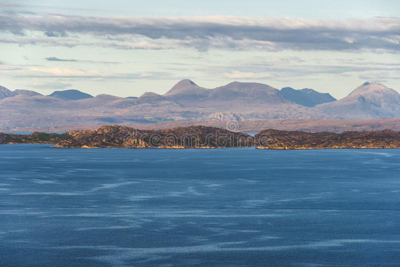 Isle of Skye landscape. Views of a lake with a mountain in the background inside Isle of Skyen royalty free stock images
