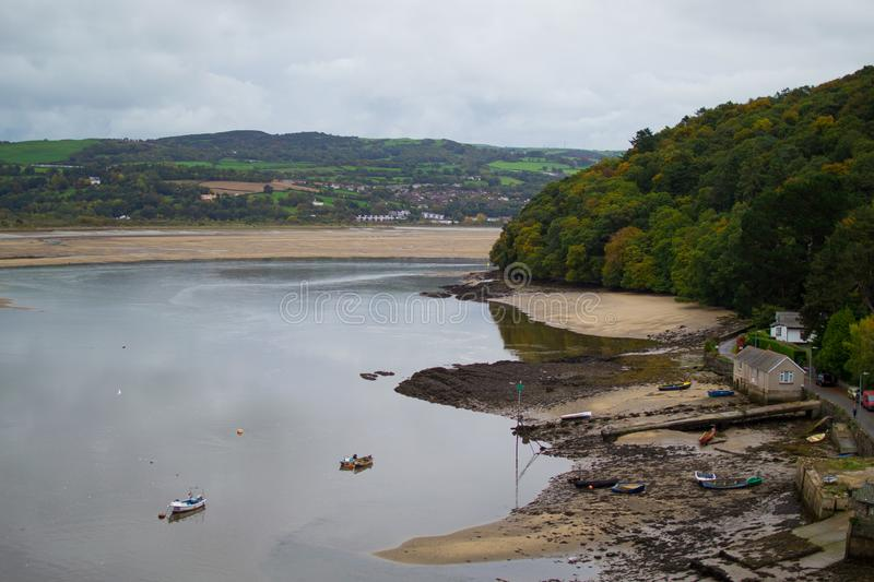 Views of landscape and River Conwy from a tower of Conwy Castle, an ancient 13th Century stone built fortification in North Wales royalty free stock image