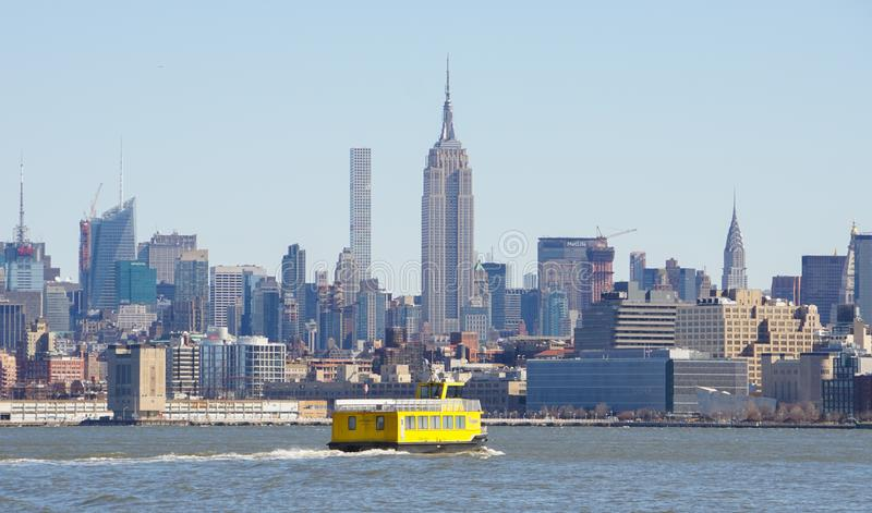 Views from Liberty State Park in Jersey City towards the Skyline of Manhattan in New York City. stock photo