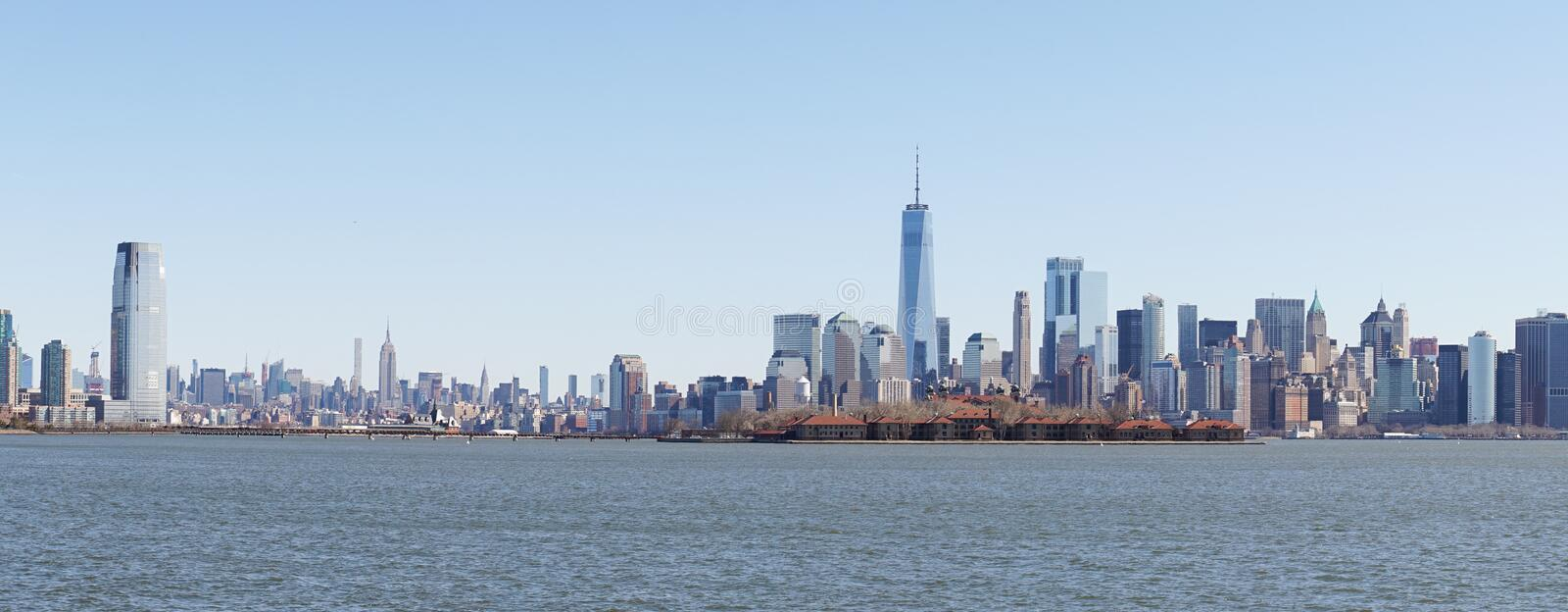 Views from Liberty State Park in Jersey City towards the Skyline of Manhattan in New York City. royalty free stock images