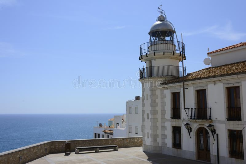 Views of the lighthouse in the tourist village of Peñiscola. royalty free stock images
