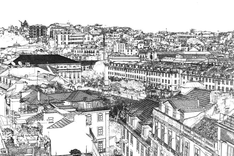 Views of Lisbon.  Graphic.  engraving.  black and white. stock images