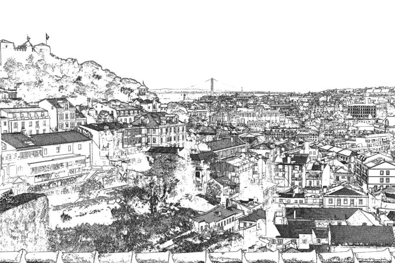 Views of Lisbon.  Graphica.  engraving.  black and white. stock photography