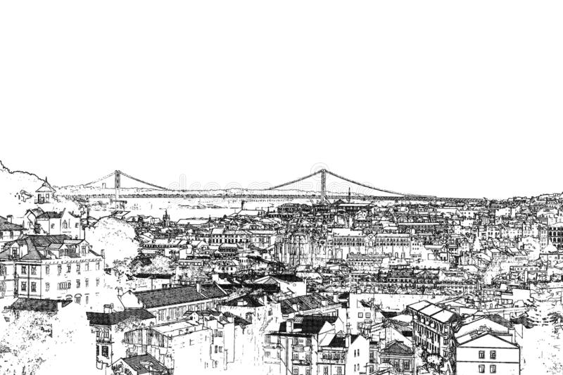 Views of Lisbon.  Graphica.  engraving.  black and white. stock image