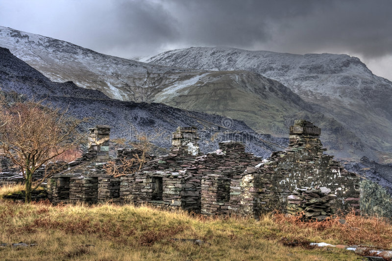 Views from Llanberis. And the derelict slate quarries and buildings stock photo