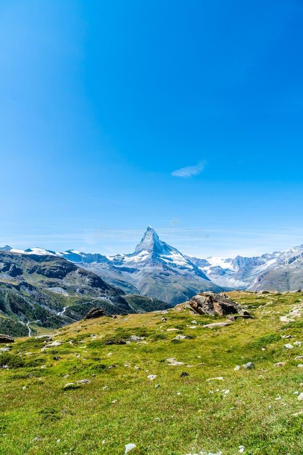 Views of the Matterhorn peak in Zermatt, Switzerland. Beautiful mountain landscape with views of the Matterhorn peak in Zermatt, Switzerland stock image