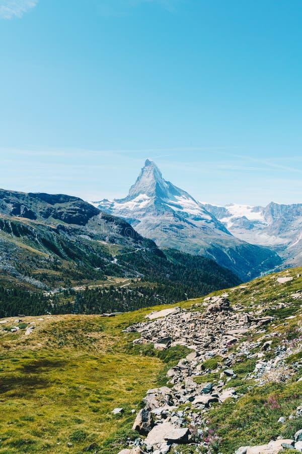 views of the Matterhorn peak in Zermatt, Switzerland royalty free stock images