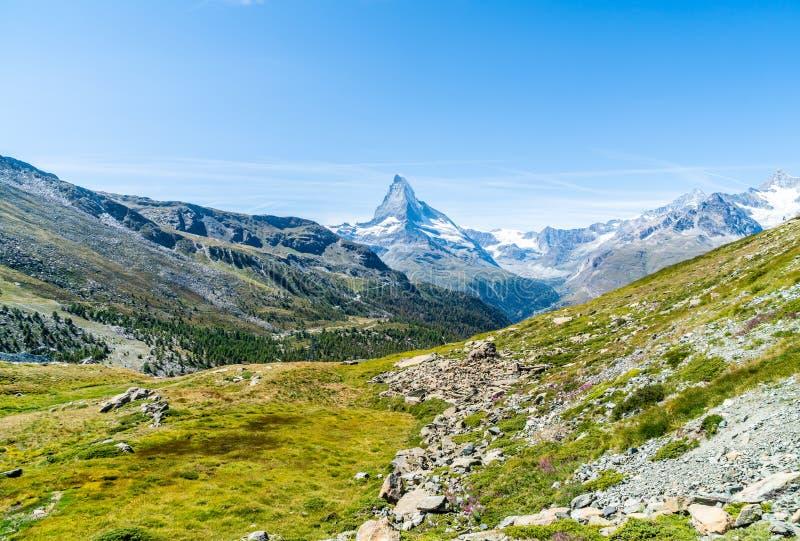 views of the Matterhorn peak in Zermatt, Switzerland stock photos