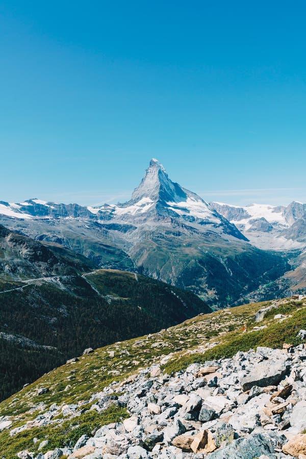 views of the Matterhorn peak in Zermatt, Switzerland stock image