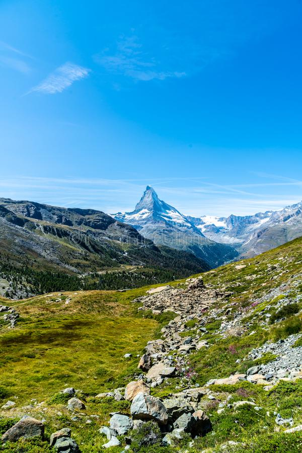 views of the Matterhorn peak in Zermatt, Switzerland royalty free stock photos