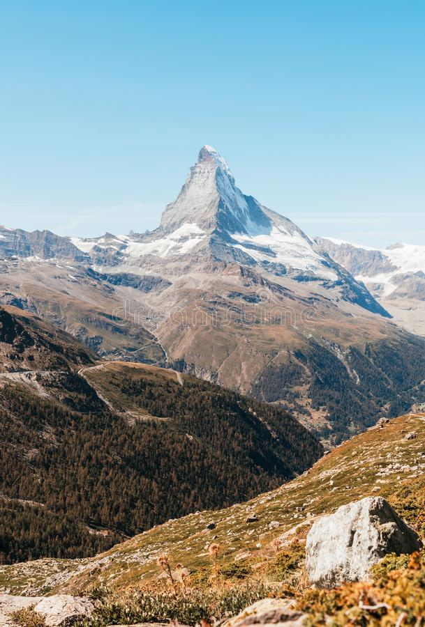 views of the Matterhorn peak in Zermatt, Switzerland stock images