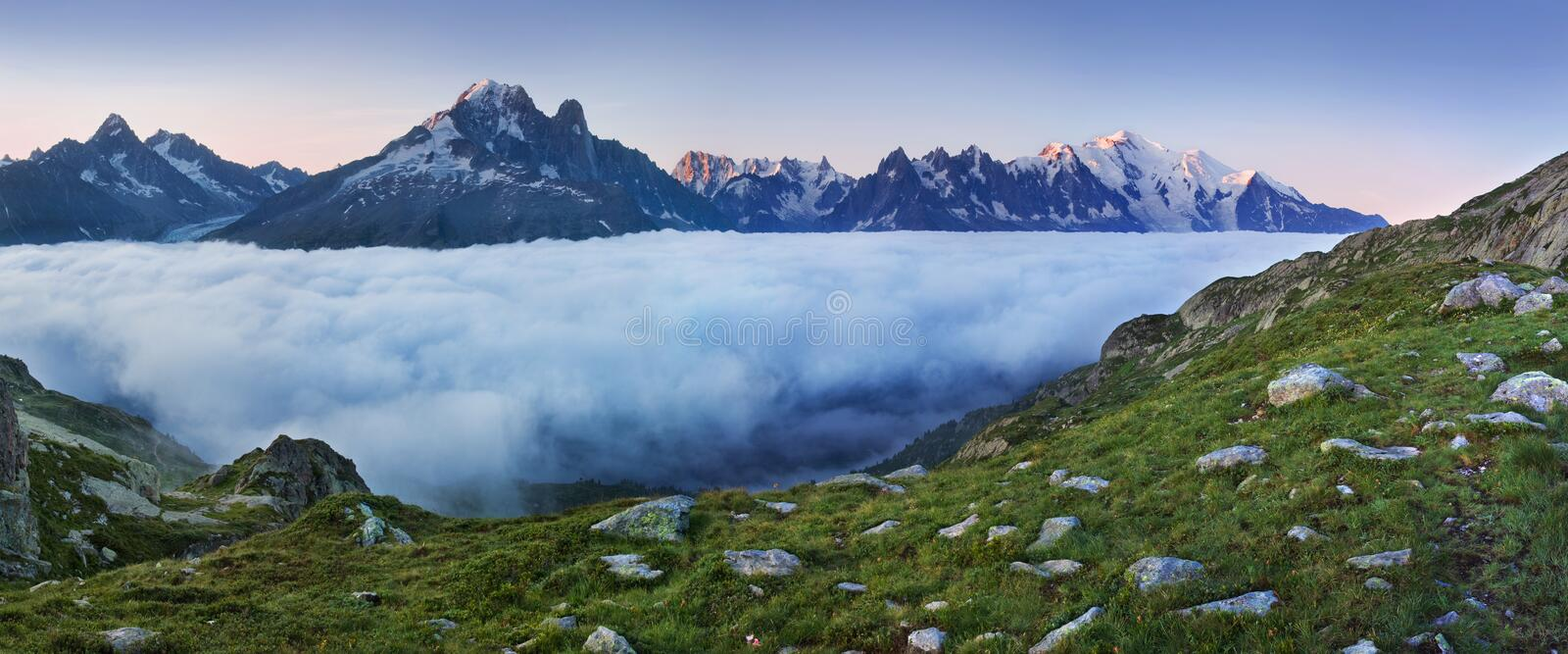 Views of the Mont Blanc glacier from Lac Blanc. Popular tourist attraction. Picturesque and gorgeous mountain scene. royalty free stock image