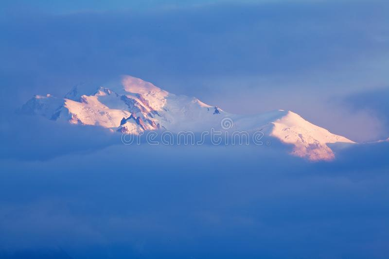 Views of the Mont Blanc glacier from Lac Blanc. Popular tourist attraction. Picturesque and gorgeous mountain scene. stock photos