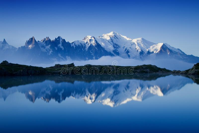 Views of the Mont Blanc glacier from Lac Blanc. Popular tourist attraction. Picturesque and gorgeous mountain scene. stock image