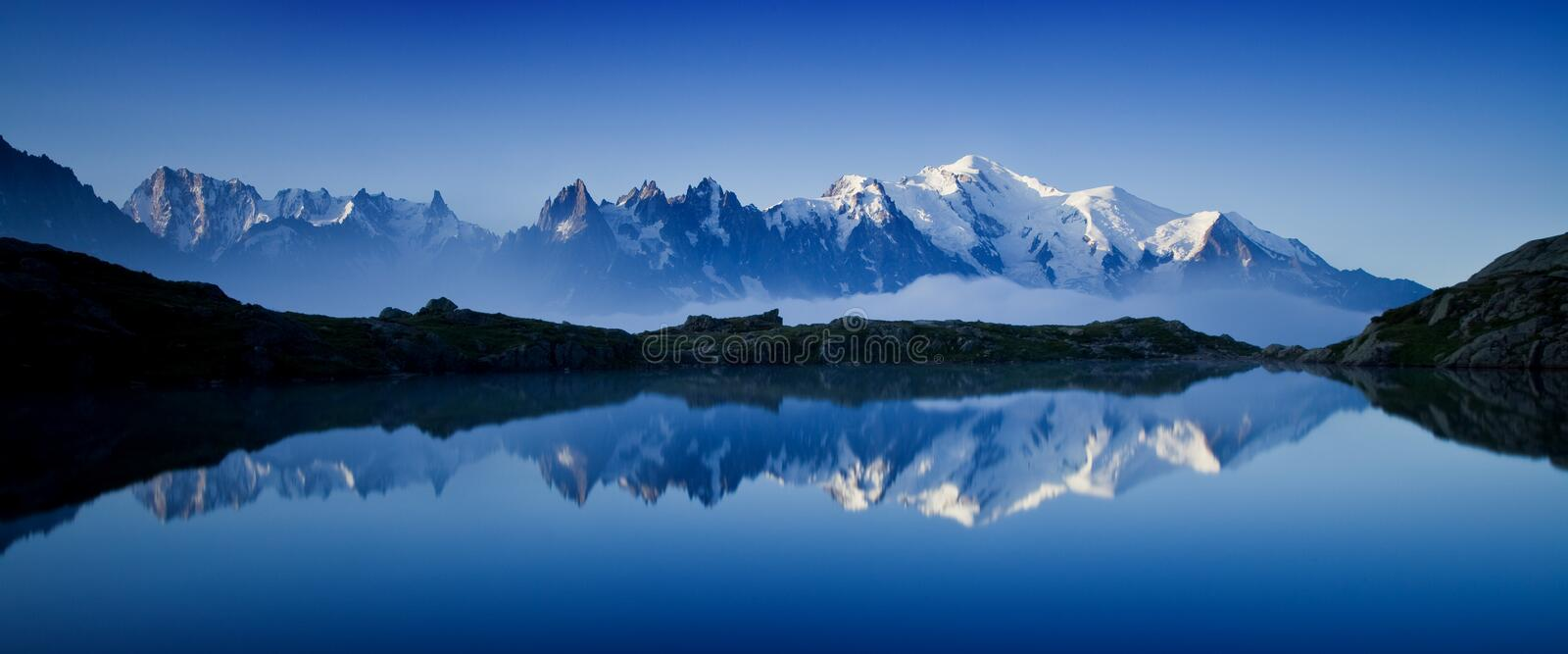 Views of the Mont Blanc glacier from Lac Blanc. Popular tourist attraction. Picturesque and gorgeous mountain scene. stock images