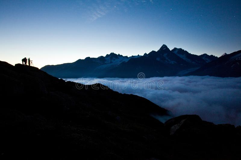 Views of the Mont Blanc glacier from Lac Blanc. Popular tourist attraction. Picturesque and gorgeous mountain scene. stock photo