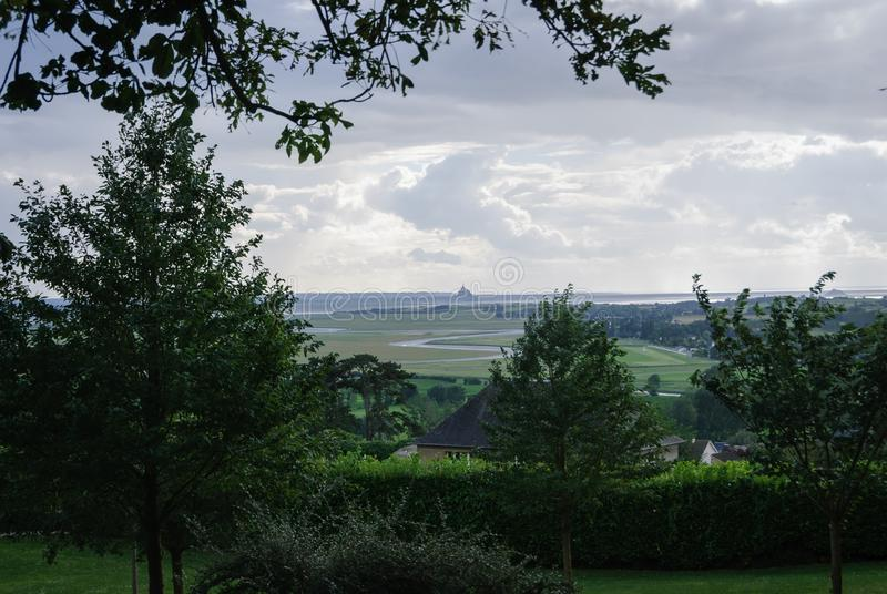 Views of Mont Saint Michael from the botanical garden of Avranches royalty free stock photography