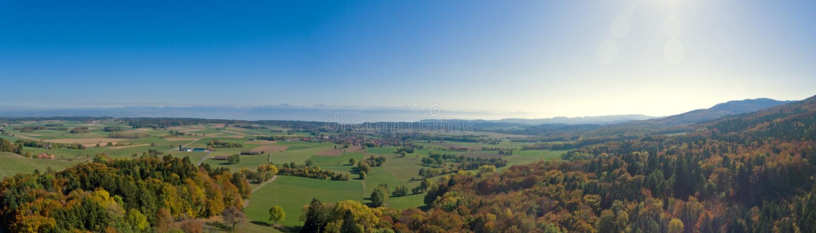 Views from mont tendre in the swiss Jura towards the french alps. stock photos