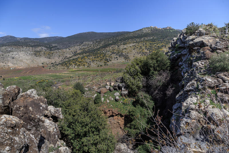 Views of Mount Arbel and rocks. israel stock photography