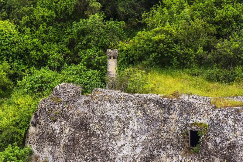 Views of The Murgia national park. And Rupestrian Churches from the Montescaglioso side stock image