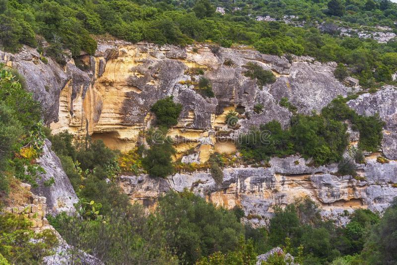 Views of The Murgia national park. And Rupestrian Churches from the Montescaglioso side royalty free stock photography