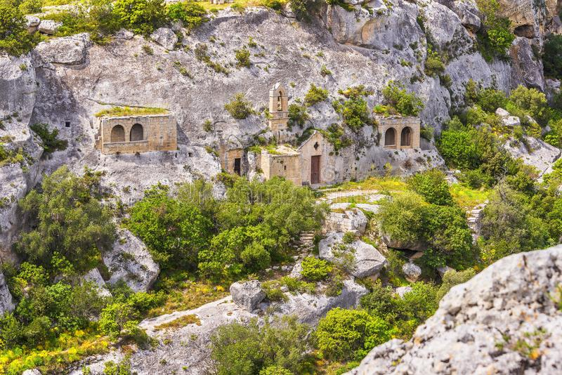 Views of The Murgia national park. And Rupestrian Churches from the Montescaglioso side stock photography