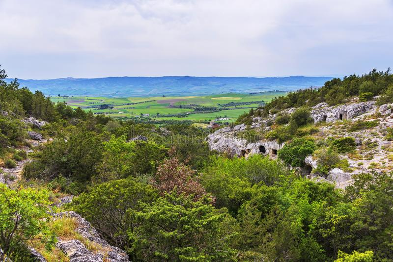 Views of The Murgia national park. And Rupestrian Churches from the Montescaglioso side royalty free stock photo