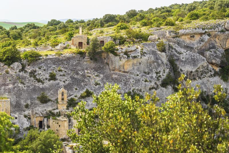 Views of The Murgia national park. And Rupestrian Churches from the Montescaglioso side royalty free stock images