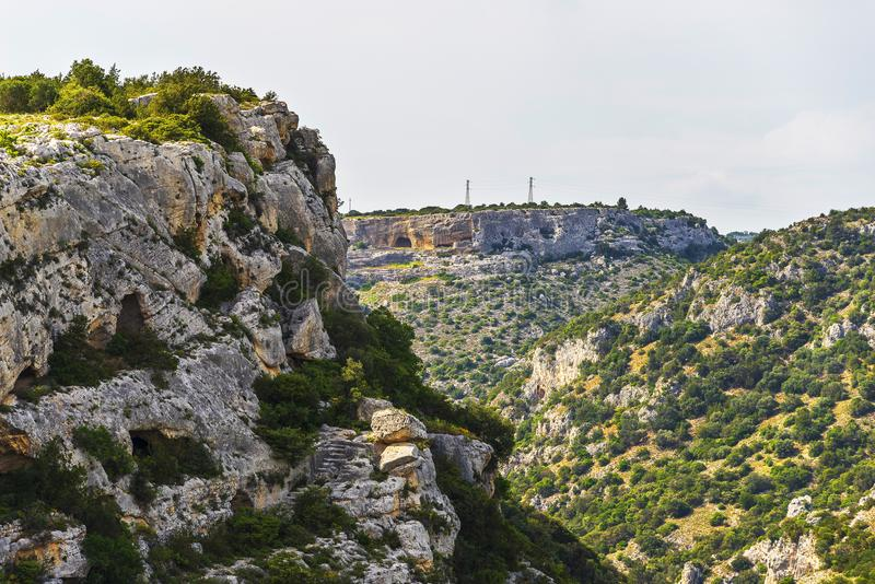 Views of The Murgia national park. And Rupestrian Churches from the Montescaglioso side stock photo