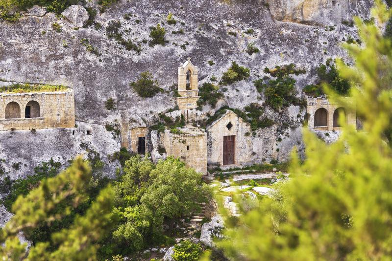 Views of The Murgia national park. And Rupestrian Churches from the Montescaglioso side royalty free stock image