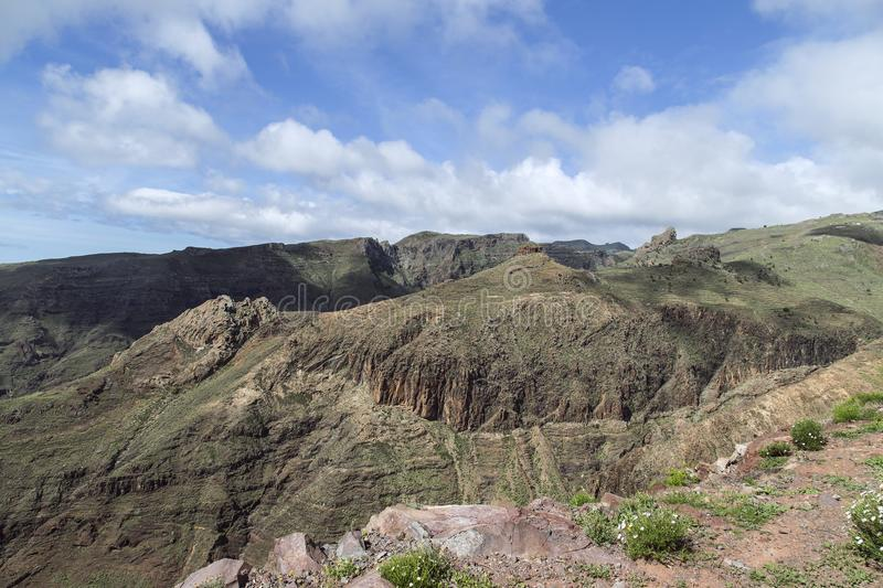 Views over the volcanic mountains of La Gomera. Beautiful almost untouched nature is one of the most important elements of La Gomera where many holiday goers stock photos