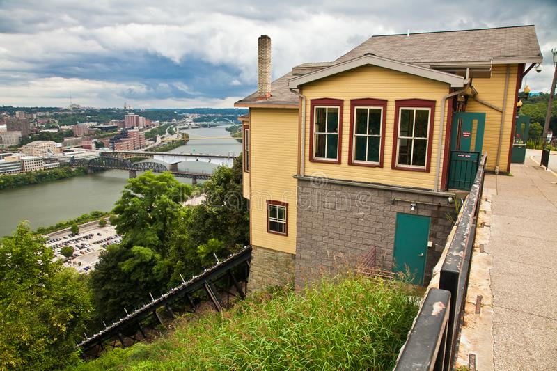 Views of Pittsburgh Pennsylvania from Duquesne Tram building. Views of Pittsburgh Pennsylvania from outside the Duquesne Tram building royalty free stock photos