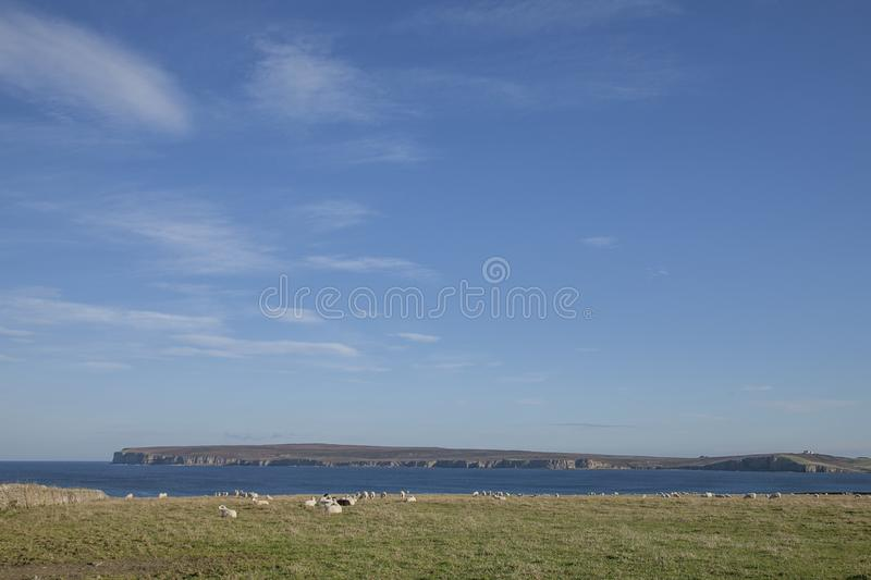 Views of Scotland, the UK, Europe - fields and blue skies. This image shows a view of Scotland, the UK. It was taken on a sunny day in summer 2016. We can see royalty free stock photography