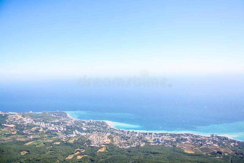 Views of the sea coast with high mountains royalty free stock photos