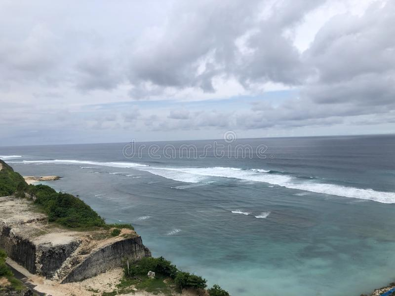 Views of sea seen from the top of hill. stock image